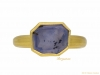 front view Post Medieval gold Sapphire ring berganza hatton garden