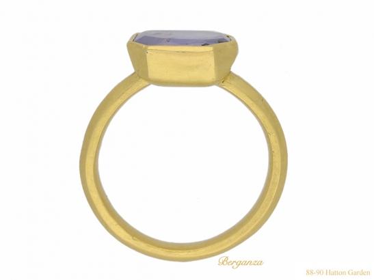 back view Post Medieval gold Sapphire ring berganza hatton garden
