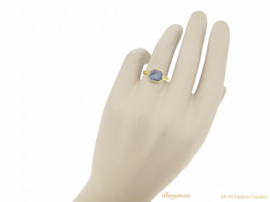 hand view Post Medieval gold Sapphire ring berganza hatton garden
