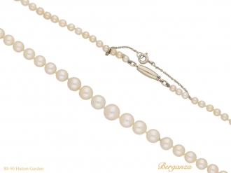 front Vintage natural pearl necklace berganza hatton garden