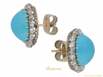 front view antique diamond turquoise earrings berganza hatton garden