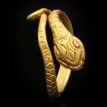 Ancient Egyptian gold snake ring, circa 4th-1st century BC.