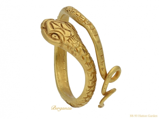 side Ancient Egyptian snake ring berganza hatton garden