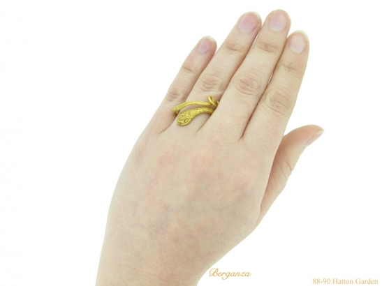hand Ancient Egyptian snake ring berganza hatton garden