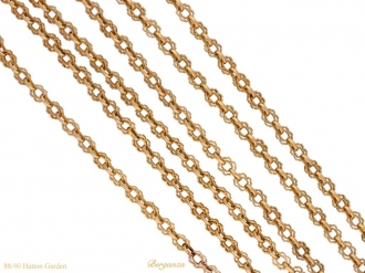 front Art Nouveau gold long chain berganza hatton garden
