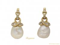 front antique diamond pearl earrings berganza hatton garden