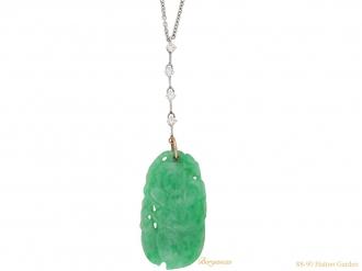 front vintage natural jade necklace berganza hatton garden