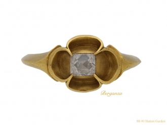 front Medieval point cut diamond ring berganza hatton garden
