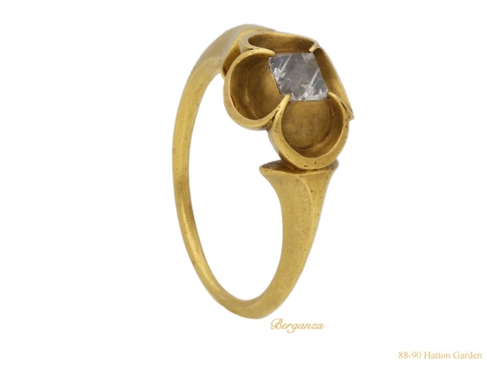 side Medieval point cut diamond ring berganza hatton garden