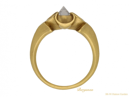 back Medieval point cut diamond ring berganza hatton garden