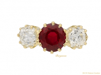 antique Burmese ruby diamond ring berganza hatton garden