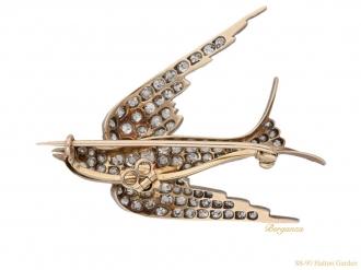 front Antique diamond ruby bird brooch berganza hatton garden