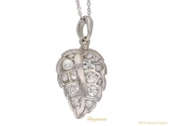 front vintage diamond set leaf pendant hatton garden berganza