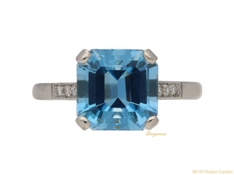 front vintage diamond aquamarine ring berganza hatton garden
