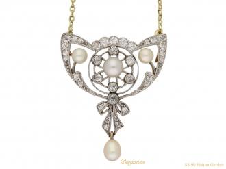 front antique diamond pearl pendant brooch berganza hatton garden