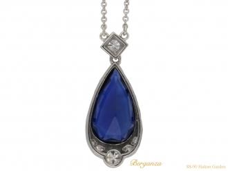 front Art Deco sapphire diamond pendant berganza hatton garden