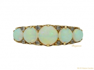 front antique opal diamond five stone ring hatton garden berganza