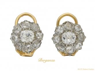 front antique diamond cluster earrings hatton garden berganza