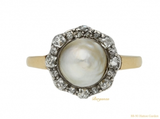 front antique pearl diamond cluster ring berganza hatton garden