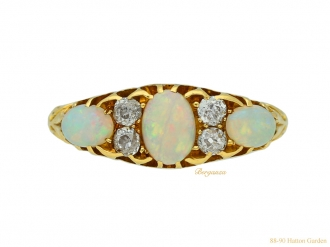 front antique diamond opal ring berganza hatton garden