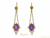 front antique amethyst gold earrings berganza hatton garden
