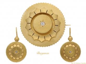 Antique diamond brooch and earring suite berganza hatton garden