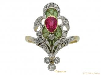 front Art Nouveau ruby diamond enamel ring berganza hatton garden