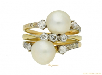 front antique natural pearl diamond ring berganza hatton garden