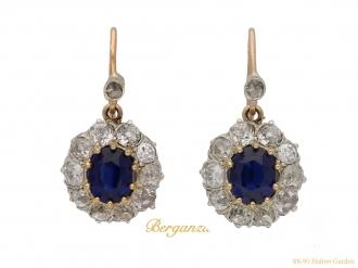 front antique diamond sapphire earrings berganza hatton garden