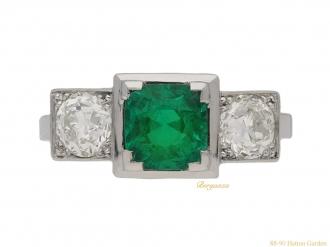 front Art Deco Emerald diamond ring berganza hatton garden