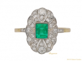 Antique emerald diamond cluster ring hatton garden
