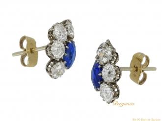 front antique sapphire diamond earrings berganza hatton garden