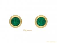 front vimtage emerald gold stud earrings hatton garden berganza
