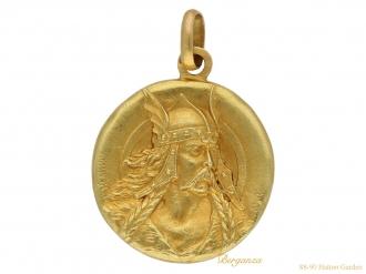 front Art Nouveau medal pendant berganza hatton garden