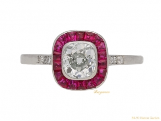 front Diamond ruby target ring berganza hatton garden