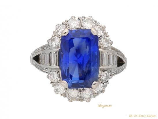 front  vintage sapphire diamond cluster ring berganza hatton garden