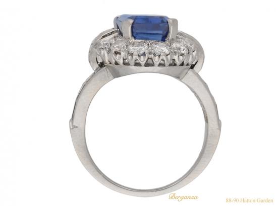 back  vintage sapphire diamond cluster ring berganza hatton garden