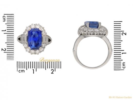 size  vintage sapphire diamond cluster ring berganza hatton garden