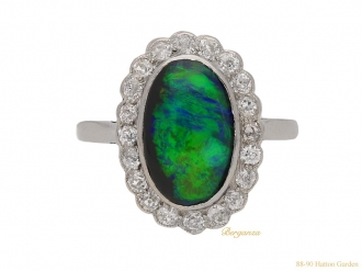 front antique opal diamond cluster ring berganza hatton garden