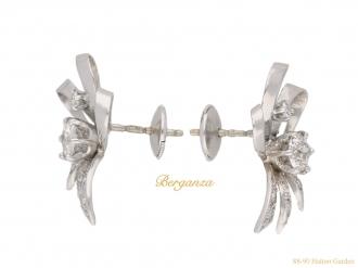 front vintage diamond bow earrings hatton garden berganza
