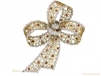 front vintage ruby diamond bow brooch berganza hatton garden