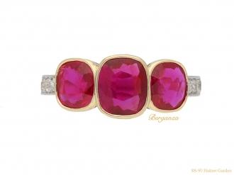 ancient Burmese three stone ruby ring hatton garden berganza
