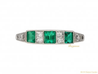 front art deco diamond emerald ring berganza hatton garden