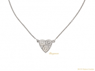 front vintage diamond heart pendant berganza hatton garden