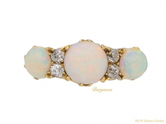 Antique opal diamond seven stone ring berganza hatton garden