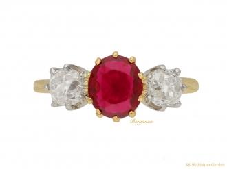 Burmese ruby diamond three stone ring berganza hatton garden