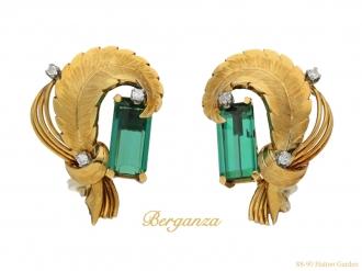 Vintage tourmaline diamond clip earrings hatton garden berganza