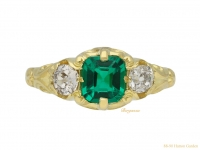 Victorian emerald diamond three stone ring berganza hatton garden