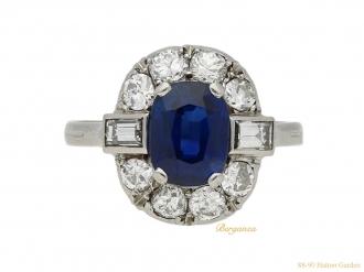Art Deco sapphire diamond cluster ring berganza hatton garden