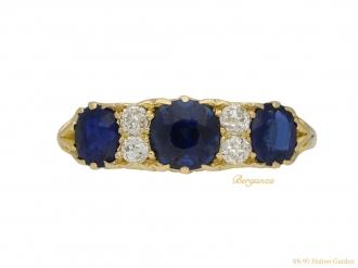 Antique sapphire and diamond carved ring berganza hatton garden